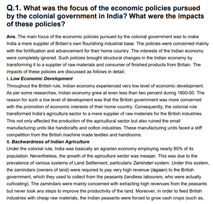 Class 11 Economics Chapter 1 Indian Economy On The Eve Of Independence