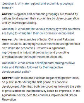 Class 11 Economics Chapter 10 : Comparative Development Experiences Of India And Its Neighbours