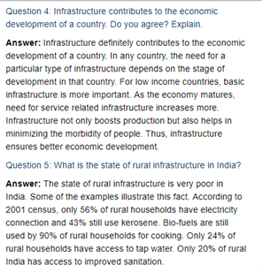 Class 11 Economics Chapter 8 : Infrastructure