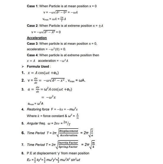 Class 11 Physics Chapter 14 Oscillations