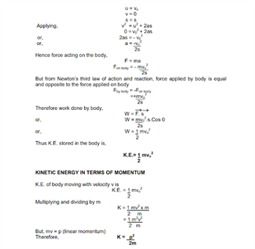 CBSE Class 11 Physics Revision Notes Chapter 6 Work Energy