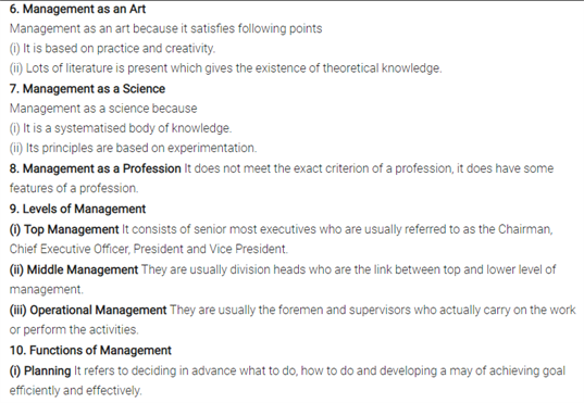 Class 12 Business Studies Chapter 1 - Nature And Significance Of Management