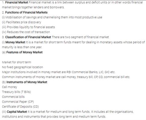 Class 12 Business Studies Chapter 10 - Financial Markets
