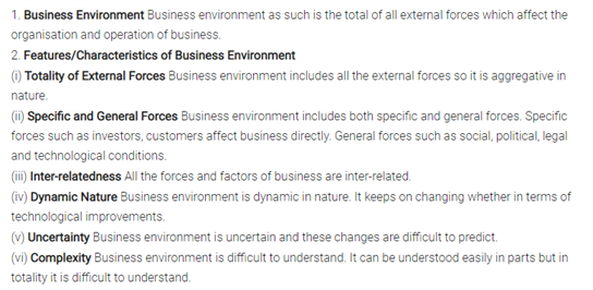 Class 12 Business Studies Chapter 3 - Business Environment