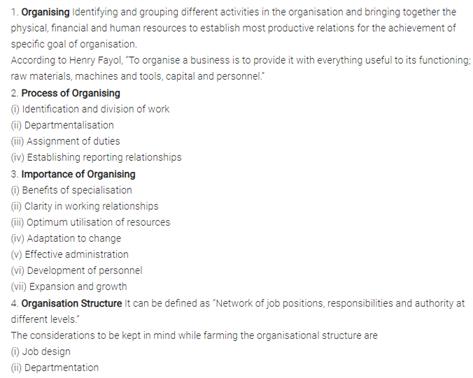 Class 12 Business Studies Chapter 5 - Organising