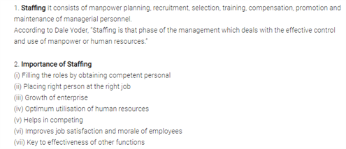 Class 12 Business Studies Chapter 6 - Staffing
