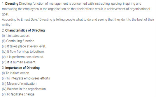 Class 12 Business Studies Chapter 7 - Directing