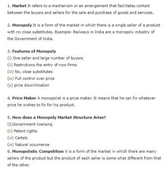 Class 12 Economics Chapter 6 - Non-Competitive Markets