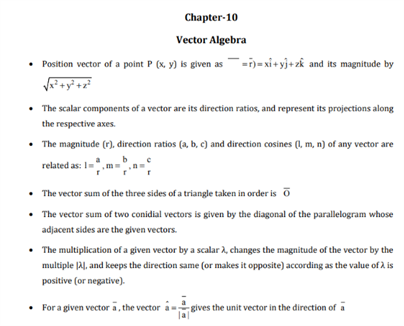Class 12 Maths Chapter 10 Vector Algebra
