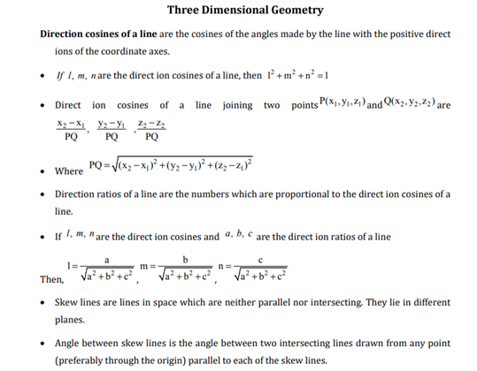 Class 12 Maths Chapter 11 Three Dimensional Geometry