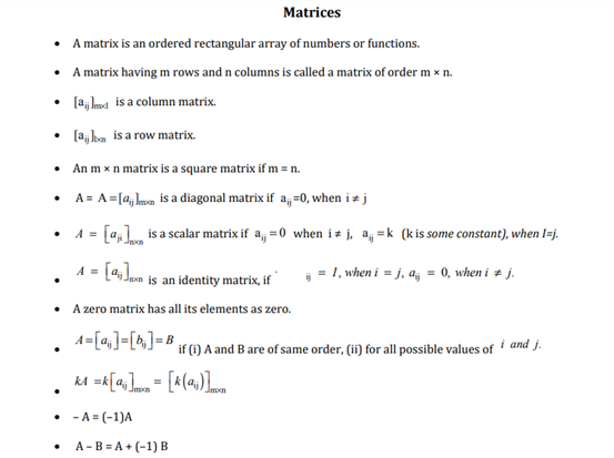 CBSE Class 12 Maths Revision Notes Chapter 3 Matrices  Free