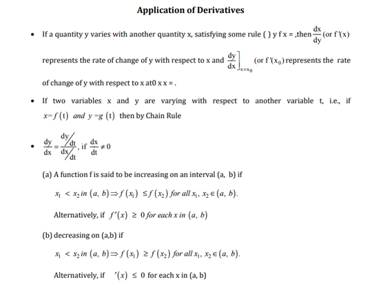 Class 12 Maths Chapter 6 Application of Derivatives