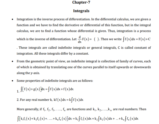 CBSE Class 12 Maths Revision Notes Chapter 7 Integrals  Find free