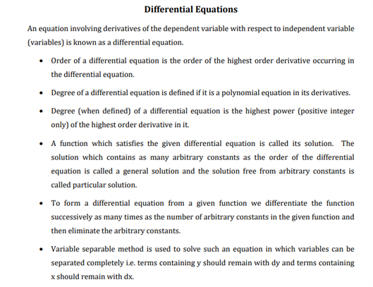 Class 12 Maths Chapter 9 Differential Equations