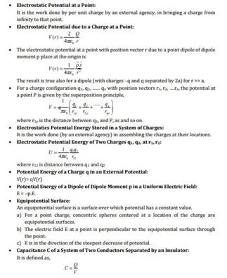 Class 12 Physics Chapter 2 Electrostatic potential and capacitance