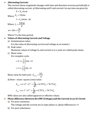 Class 12 Physics Chapter 7 Alternating Current