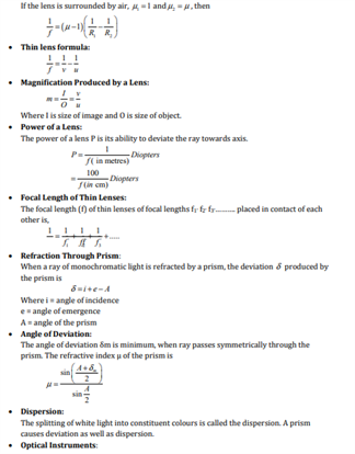 CBSE Class 12 Physics Revision Notes for Chapter 9 Ray