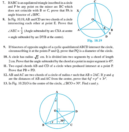 CBSE Class 9 Math Revision Notes Chapter 10- Circles