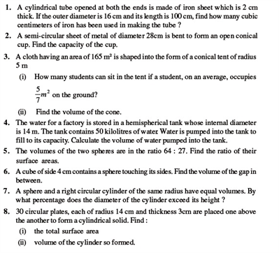 Class 9 Math Chapter 13 - Surface Areas and Volumes