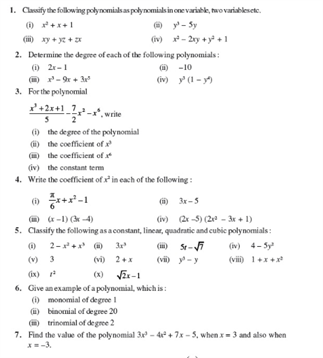 Class 9 Math Chapter 2 - Polynomials