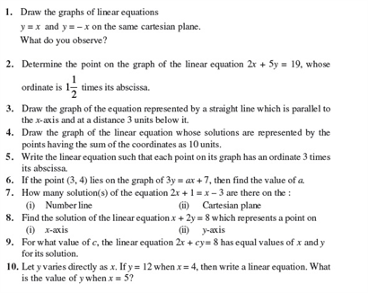 Class 9 Math Chapter 4- Linear Equations in Two Variables