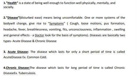 Class 9 Science Chapter 13 why do we fall ill