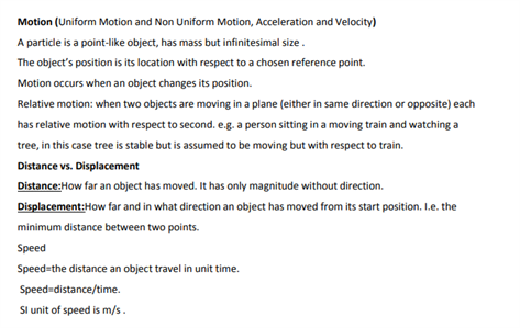 Class 9 Science Chapter 8 Motion Revision notes