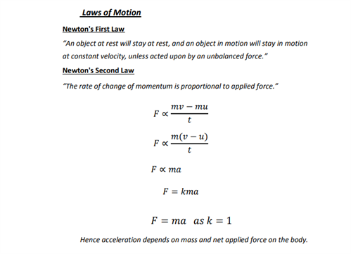 Revision Notes for Class 9 Science Chapter 9 Force and Laws of Motion