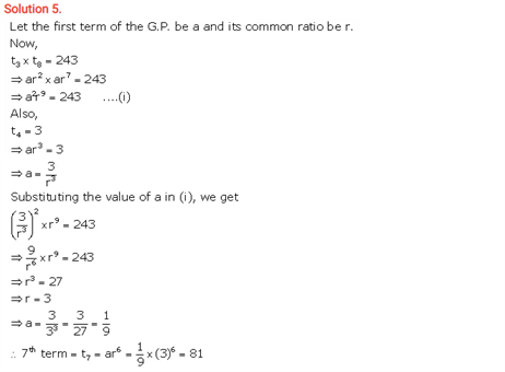 ICSE Solutions Of Class 10 Maths Chapter 11 Geometric Progression