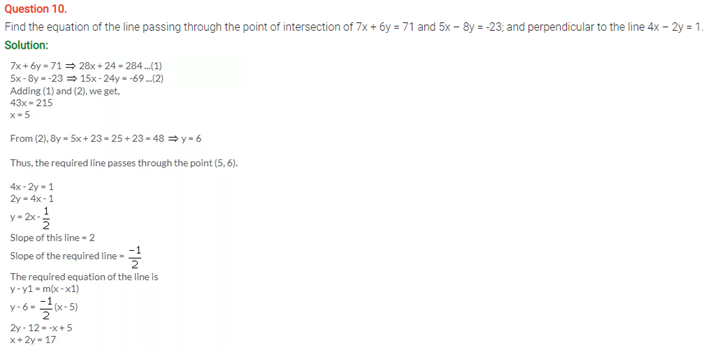 ICSE Solutions Of Class 10 Maths Chapter 14 Equation Of a Line