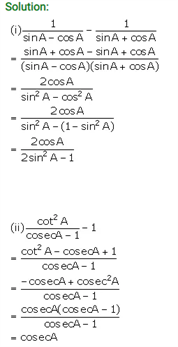 ICSE Solutions Of Class 10 Maths Chapter 21 Trigonometric Identities