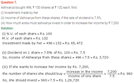 ICSE Solutions Of Class 10 Maths Chapter 3 Shares and Dividend