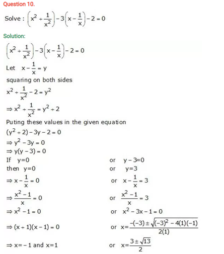 ICSE Solutions Of Class 10 Maths Chapter 5 Quadratic Equations