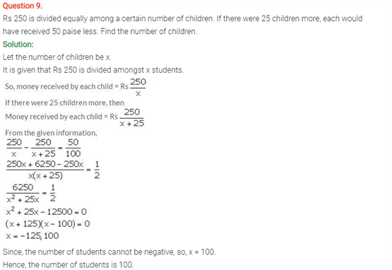 ICSE Solutions Of Class 10 Maths Chapter 6 Solving Problems on Quadratic Equations
