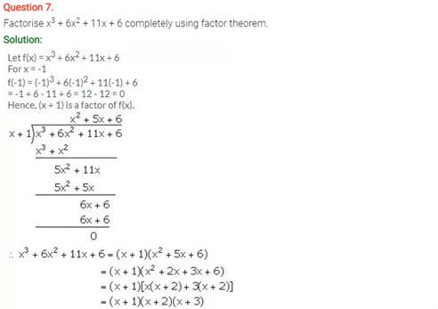 ICSE Solutions Of Class 10 Maths Chapter 8 Remainder and Factor Theorems