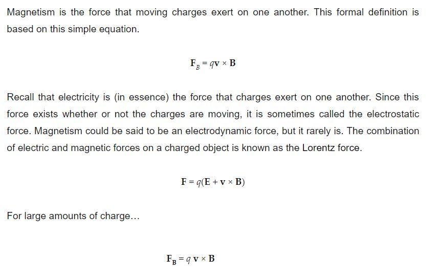 Magnetism Formulas
