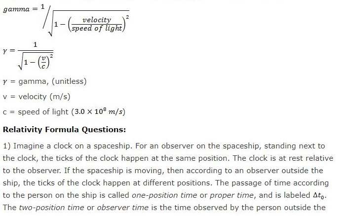 Relativity Formula