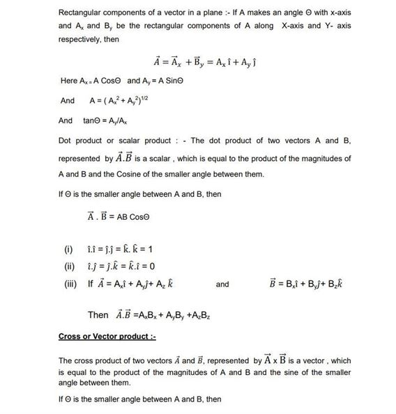 CBSE Class 11 Physics Revision Notes Chapter 4 Motion in a Plane