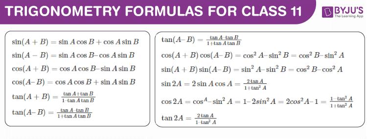 Trigonometry Formulas For Class 11