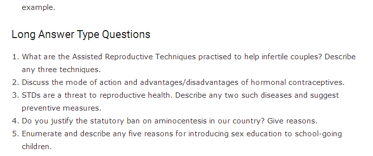 Important Questions Class 12 Biology Chapter 4 Reproductive Health Part 2
