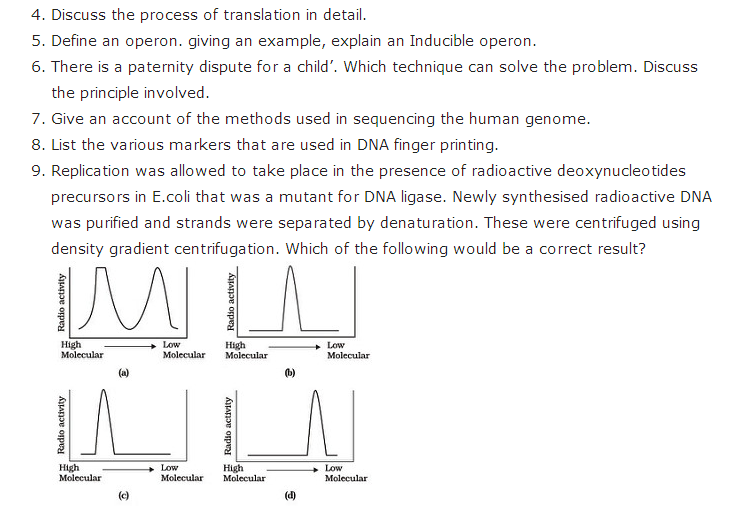 Important Questions Class 12 Biology Chapter 6 Molecular Basis Inheritance Part 4