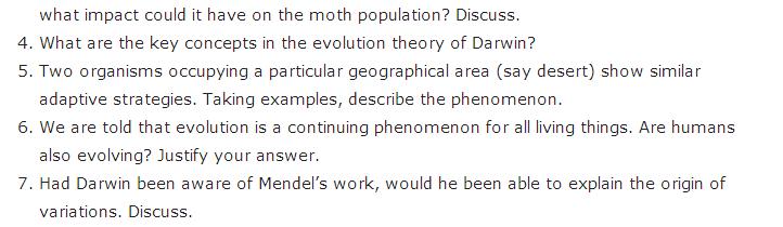 Important Questions Class 12 Biology Chapter 7 Evolution Part 3