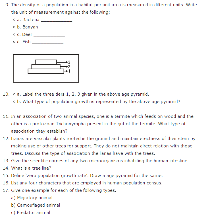 Important Questions Class 12 Biology Chapter 13 Organisms Populations Part 3