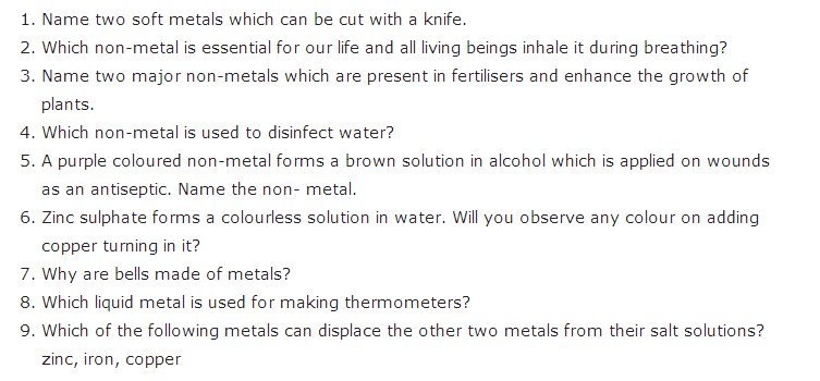 Important Questions For Class 8 Science Chapter 4 Materials Metals