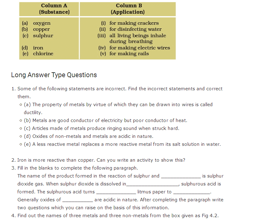 Important Questions For Class 8 Science Chapter 4 Materials