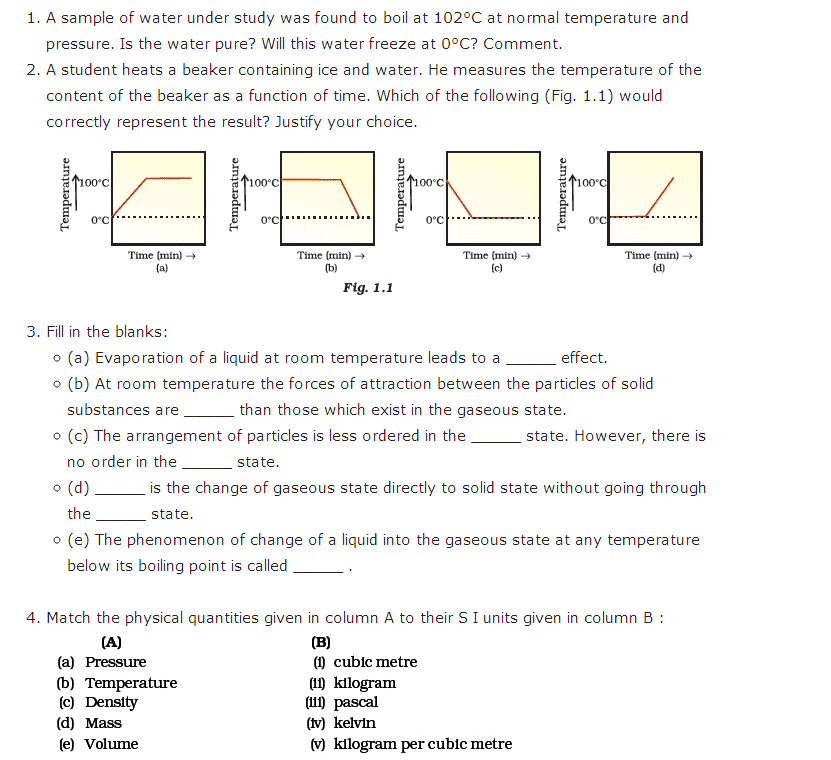 Important Questions For Class 9 Science Chapter 1 Matter In