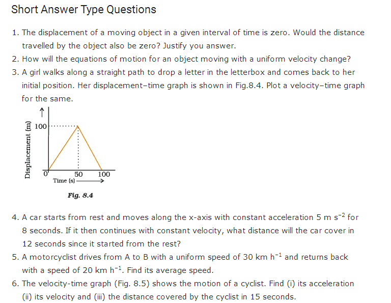 Physics Questions And Answers For Class 9 Cbse Motion