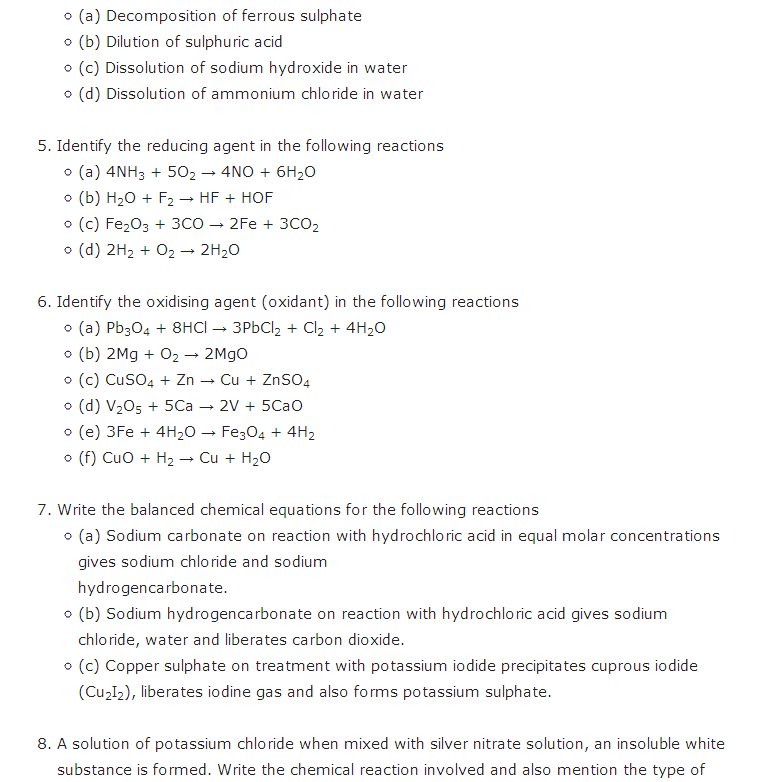 Important Questions For Class 10 Science Chapter 1 Chemical ...