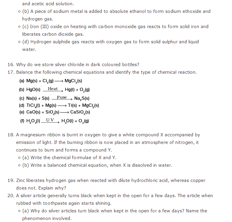 Important Questions For Class 10 Science Chapter 1 Chemical