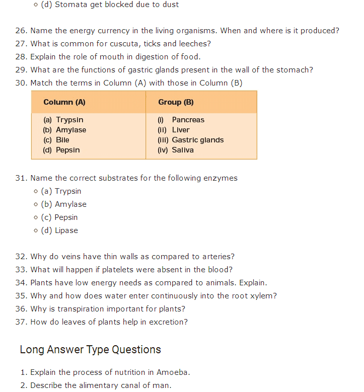 Important Questions For Class 10 Science Chapter 6 Life Processes